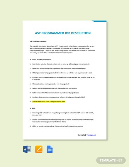 Free Asp Programmer Job Addescription Template