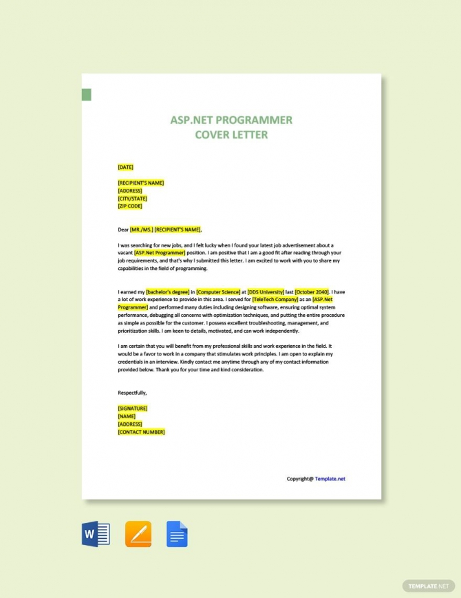 Free Aspnet Programmer Cover Letter Template Ad    Paid  Net