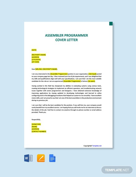 Free Assembler Programmer Cover Letter Template