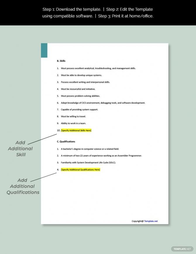 Free Assembler Programmer Job Description Template In