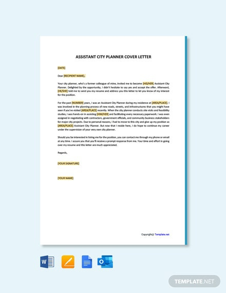 Free Assistant City Planner Cover Letter Template
