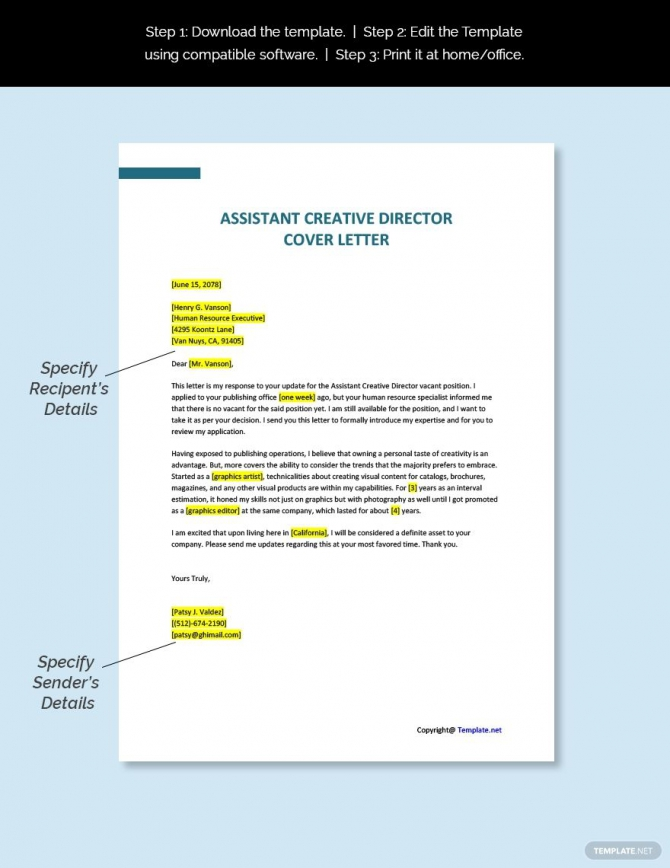 Free Assistant Creative Director Cover Letter