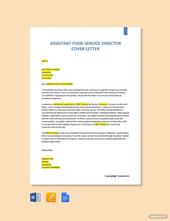 Free Assistant Food Service Director Cover Letter