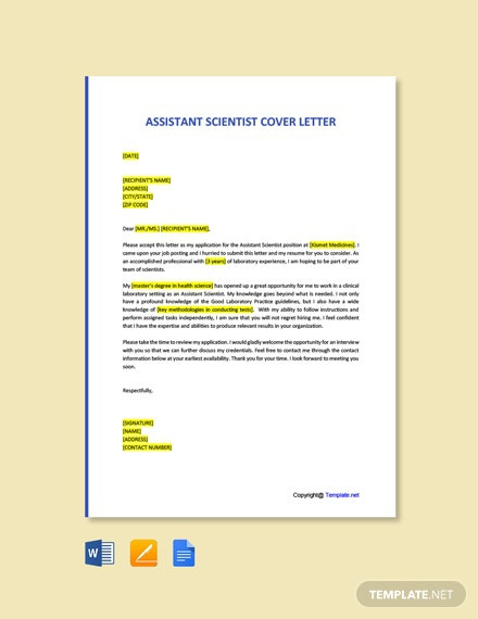 Free Assistant Scientist Cover Letter Template