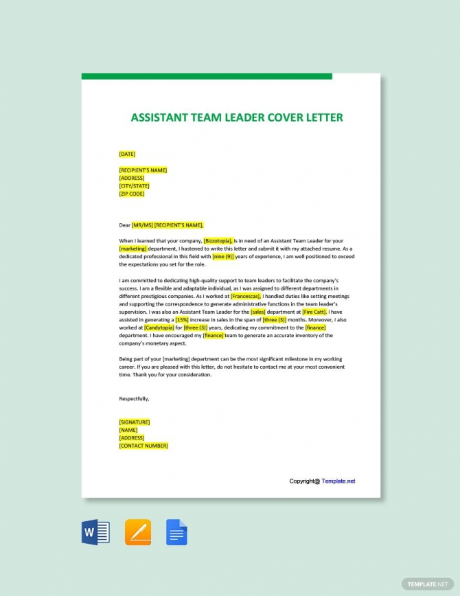 Free Assistant Team Leader Cover Letter