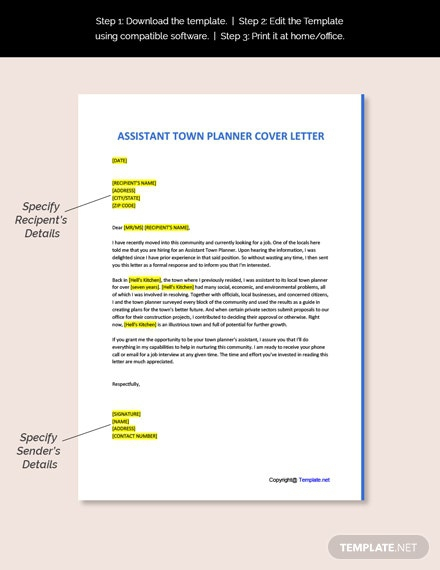 Free Assistant Town Planner Cover Letter Template