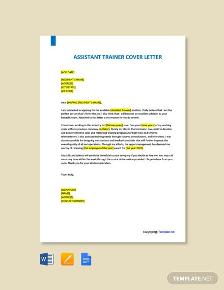 Free Assistant Trainer Cover Letter Template