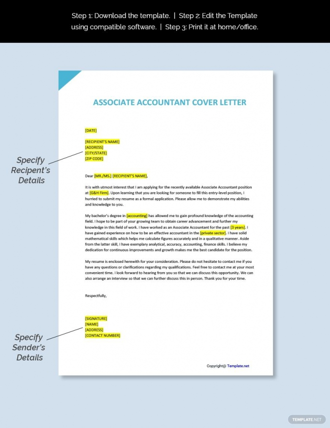 Free Associate Accountant Cover Letter Template Ad    Paid