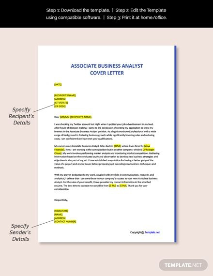 Free Associate Business Analyst Cover Letter Template Ad    Paid