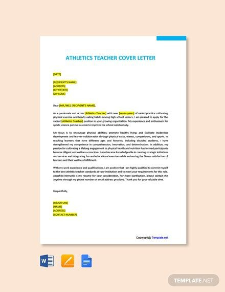 Free Athletics Teacher Cover Letter Template In
