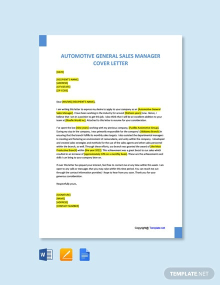 Free Automotive General Sales Manager Cover Letter Template
