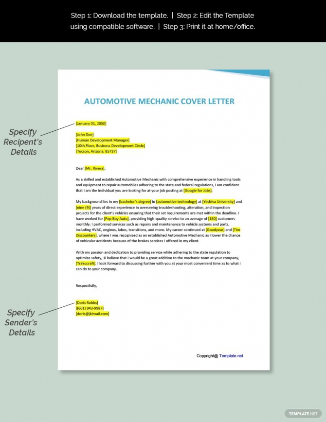 Free Automotive Mechanic Cover Letter Template