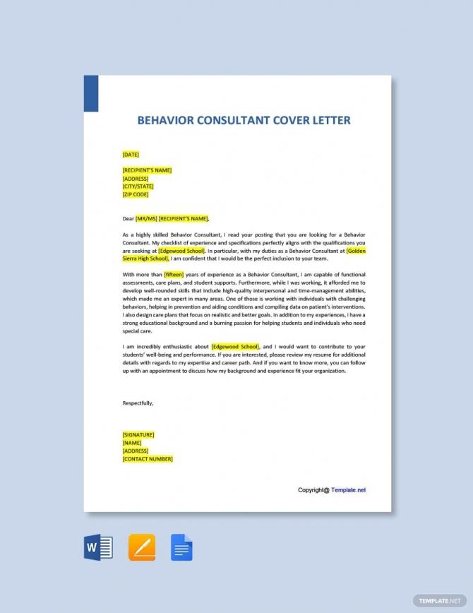 Free Behavior Consultant Cover Letter