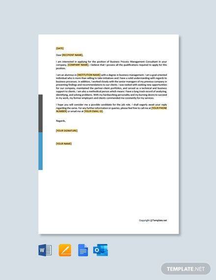 Free Bpm Consultant Cover Letter