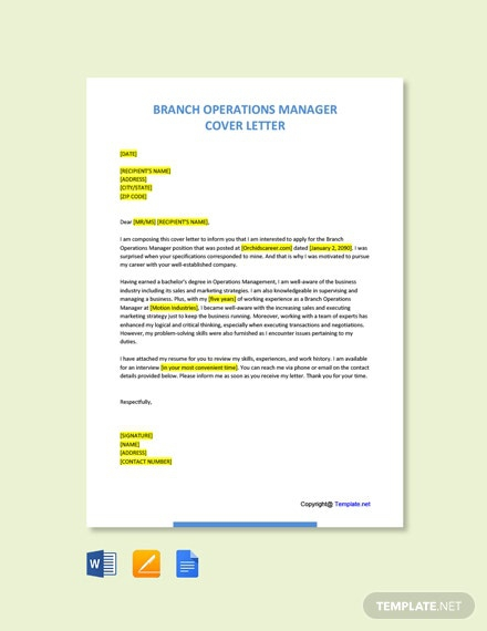 Free Branch Operations Manager Cover Letter Template