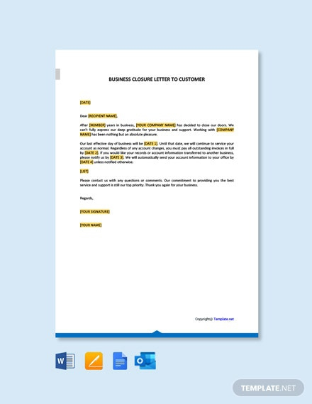 Business Closure Letter To Customer