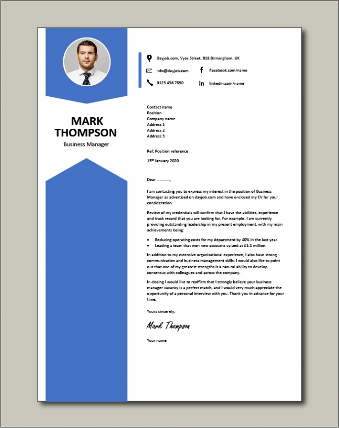 Business Manager Cover Letter