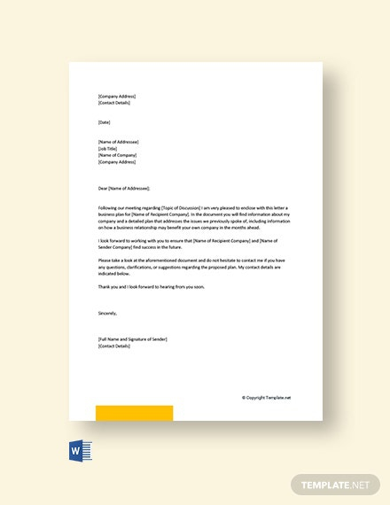 Free Business Plan Cover Letter Template