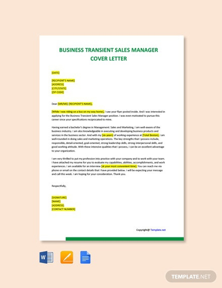 Free Business Transient Sales Manager Cover Letter Template