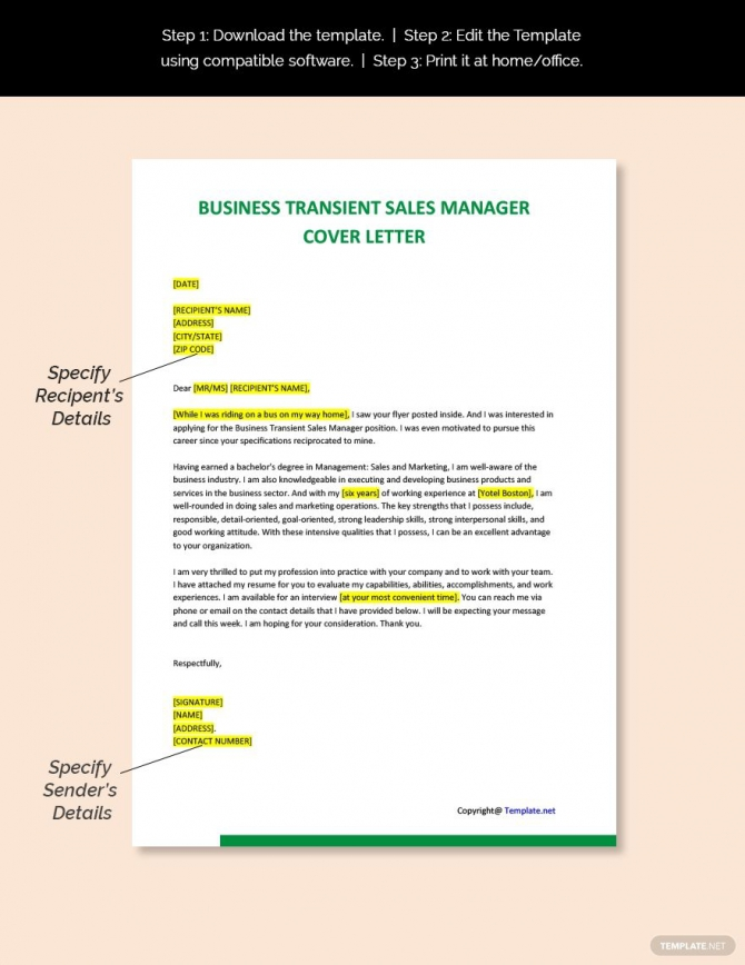 Free Business Transient Sales Manager Cover Letter Template Ad