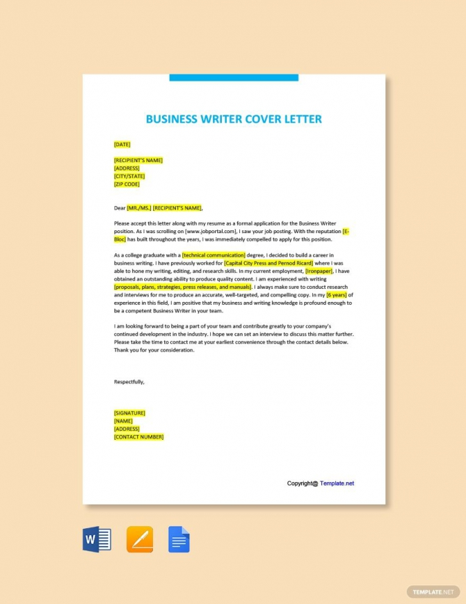Free Business Writer Cover Letter Template Ad    Affiliate