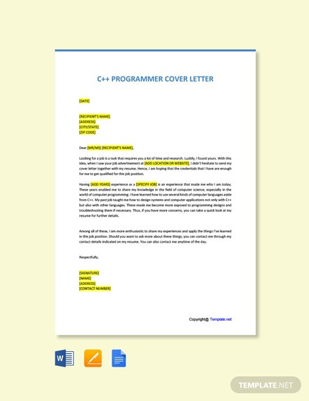 Free C Programmer Cover Letter Template