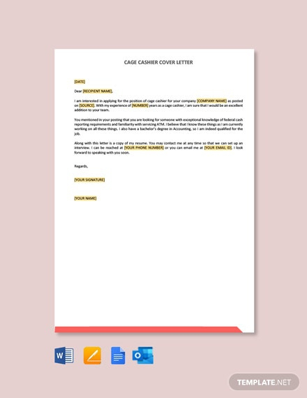 Free Cage Cashier Cover Letter