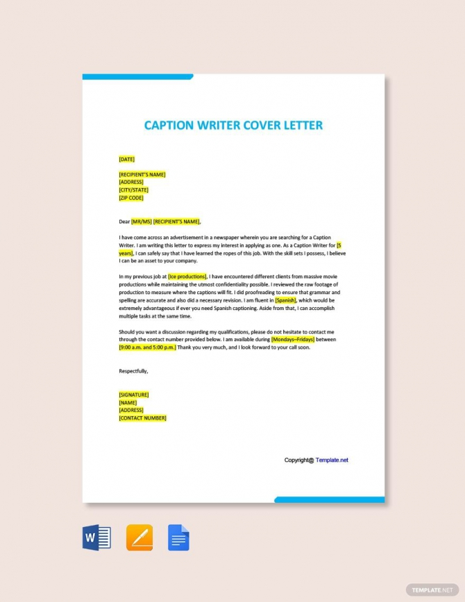 Free Caption Writer Cover Letter Template Ad    Paid  Writer