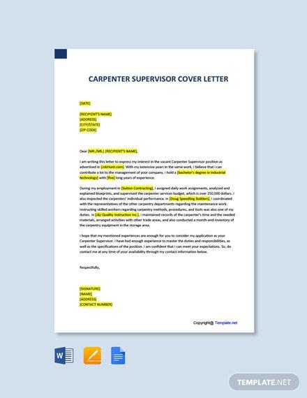 Free Carpenter Supervisor Cover Letter Template
