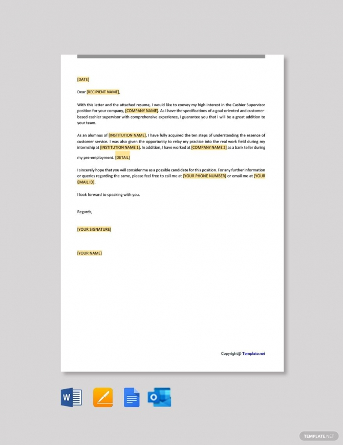 Free Cashier Supervisor Cover Letter Template In