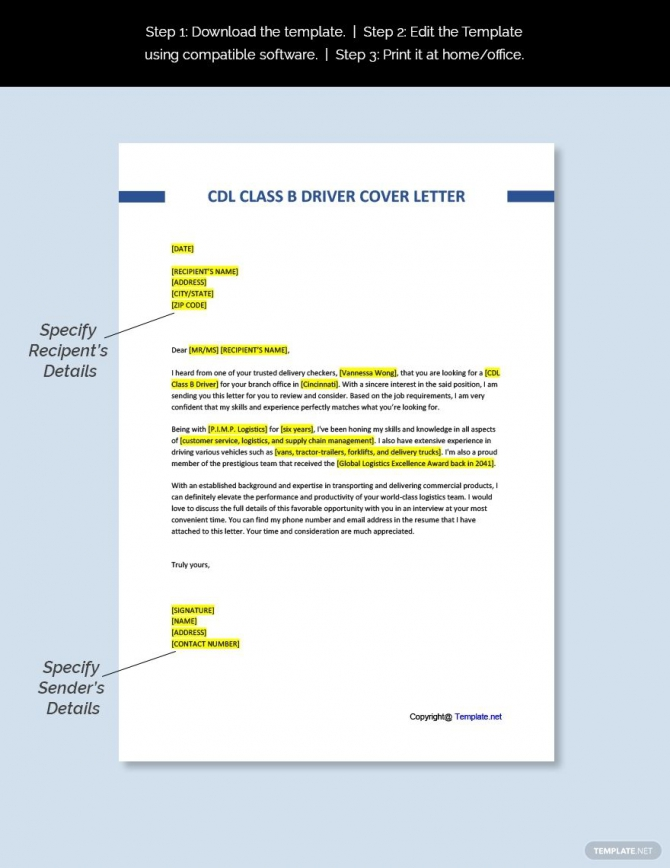 Free Cdl Class B Driver Cover Letter Template In