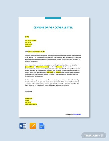 Free Cement Driver Cover Letter Template