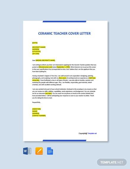 Free Ceramic Teacher Cover Letter Template