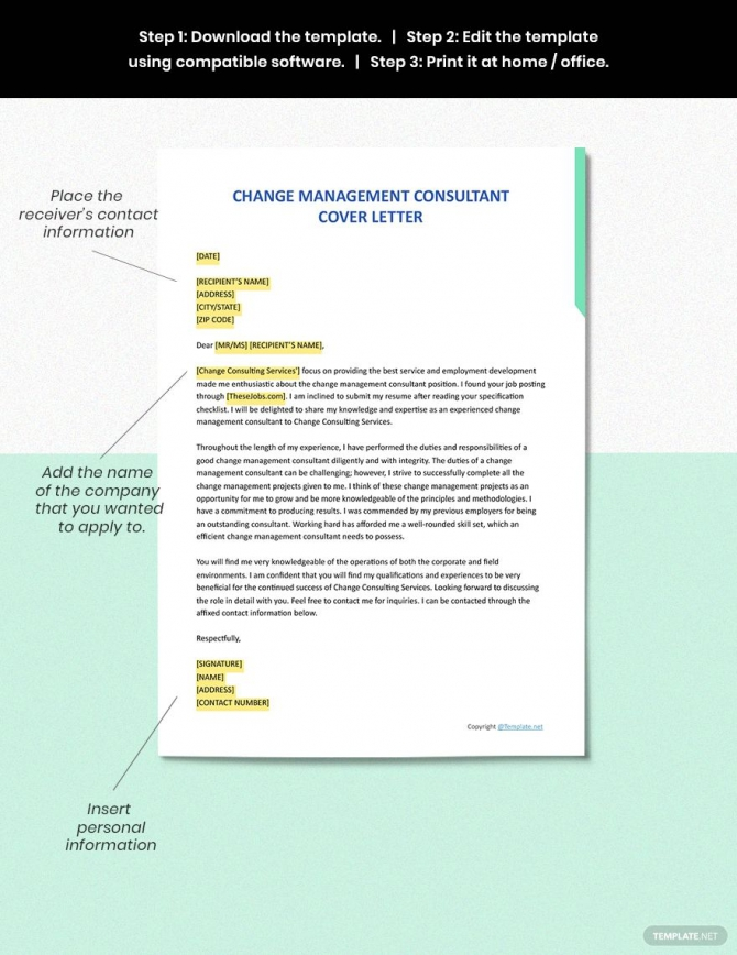 Free Change Management Consultant Cover Letter