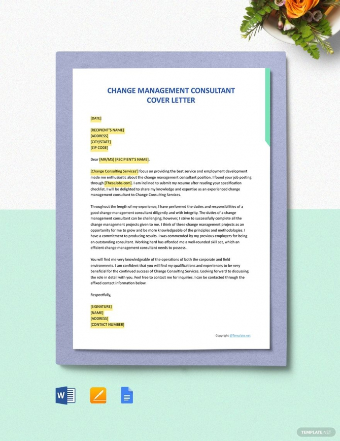 Free Change Management Consultant Cover Letter Template Ad