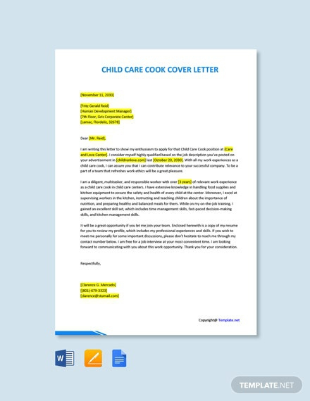 Free Child Care Cook Cover Letter