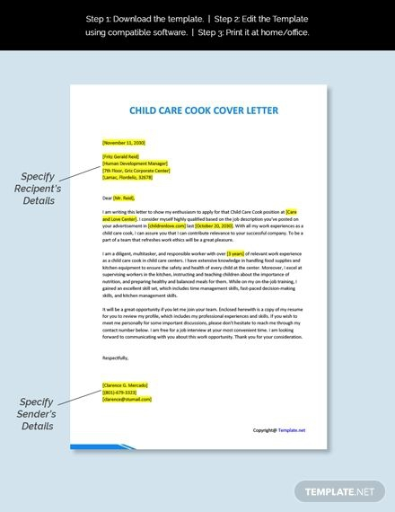 Free Child Care Cook Cover Letter Template Ad    Ad  Care