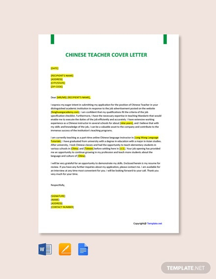 Free Chinese Teacher Cover Letter Template