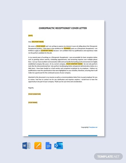 Free Chiropractic Receptionist Cover Letter