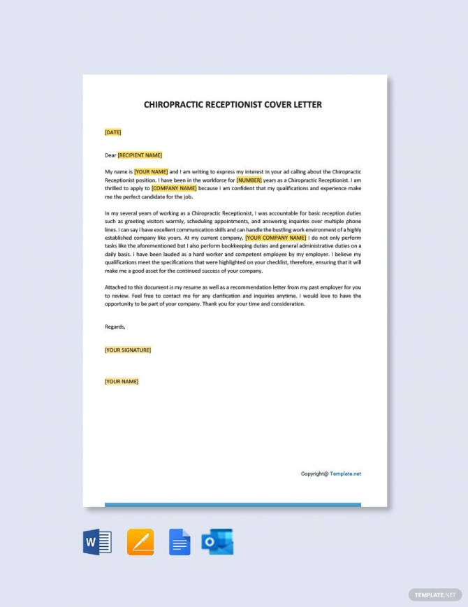 Free Chiropractic Receptionist Cover Letter Template In
