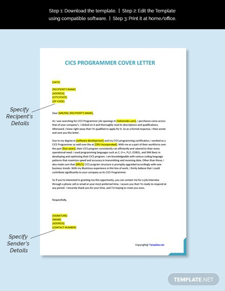 Free Cics Programmer Cover Letter Template