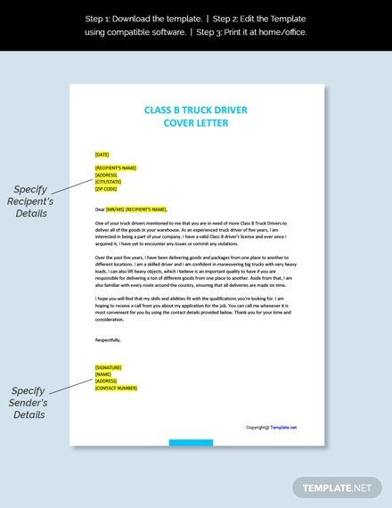 Free Class B Truck Driver Cover Letter Template In