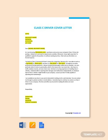 Free Class C Driver Cover Letter Template