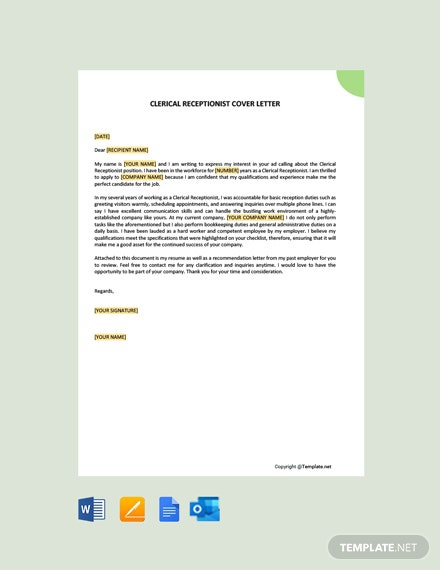 Free Clerical Receptionist Cover Letter