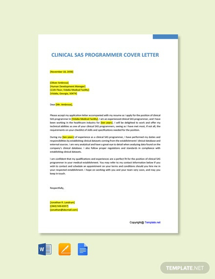 Free Clinical Sas Programmer Cover Letter Template
