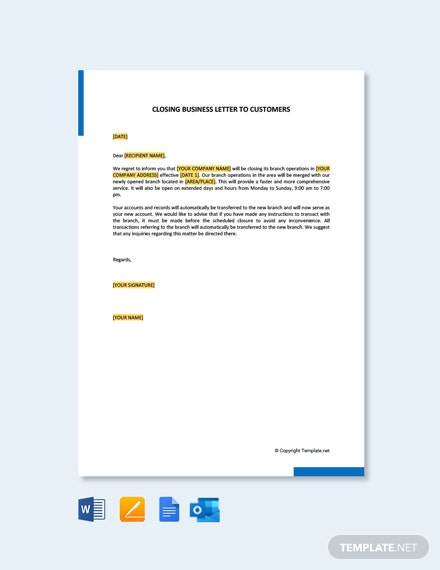 Free Closing Business Letters To Customers Template