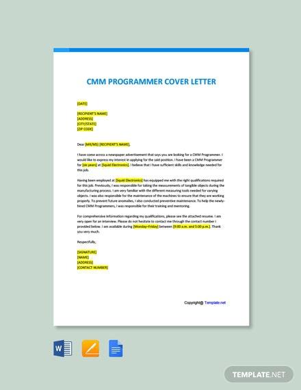 Free Cmm Programmer Cover Letter Template
