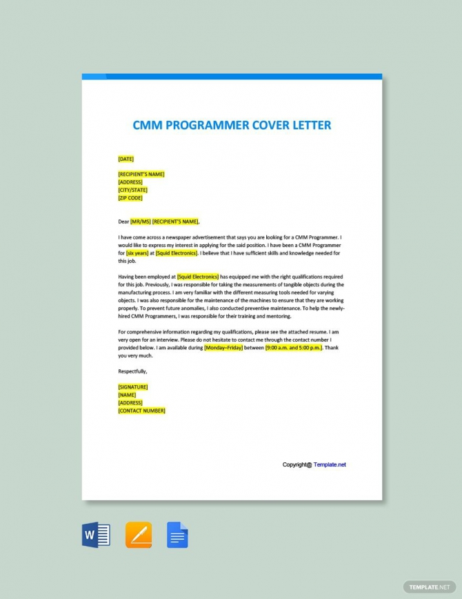 Free Cmm Programmer Cover Letter Template Ad    Paid
