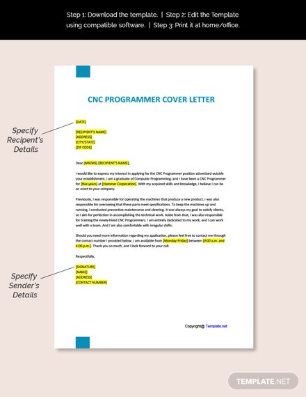 Free Cnc Programmer Cover Letter Template