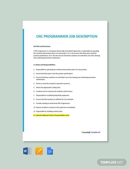Free Cnc Programmer Job Description Template